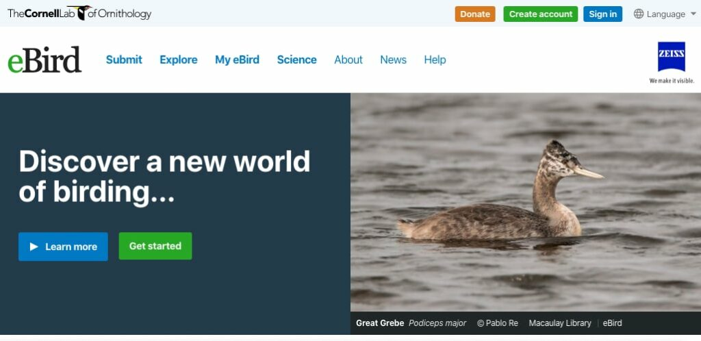website cover page for eBird